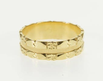 14k Ornate Floral Heart Patterned Wedding Band Ring Gold