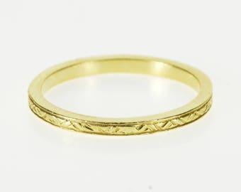 18K Ornate Zig Zag Patterned Wedding Band Ring Size 7.5 Yellow Gold