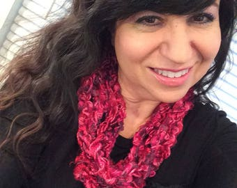 Hot Pink crochet rope scarf, infinity scarf, Chain Scarf, gift scarf