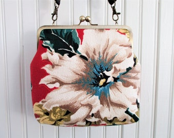 "Big White Flower with Blue Accents on Red Ground Vintage Barkcloth Fabric 8"" Antique Brass Kisslock Frame Crossbody Shoulder Bag Purse"
