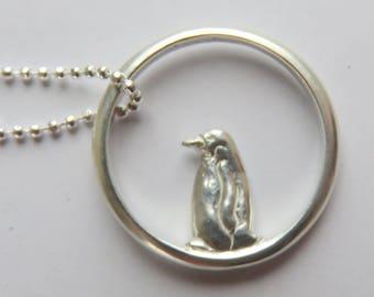 Penguin necklace, Silver Penguin, bird necklace, Bird Jewelry, bird ring necklace