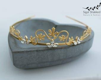 Gold Bridal Headpiece, Gold Leaf Tiara, Bridal Crown, Bohemian Headpiece, Wedding Headpiece, Leaf Crown, Leaf Headband, Bohemian, Boho