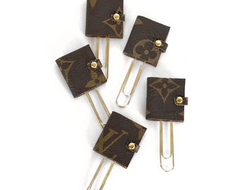 Louis Vuitton Planner Paper Clips with Authentic Upcycled Canvas - Mini Agenda