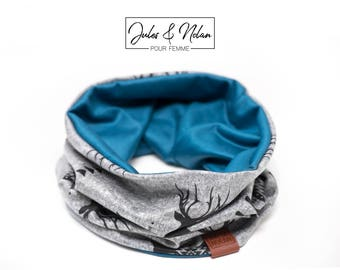 Fall  reversible neck warmer- Deer/blue