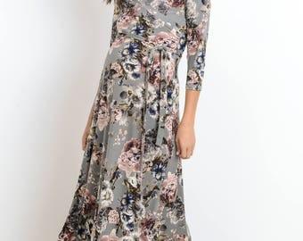 Hello Miz Floral Cross Over V-Neck With Adjustable Side Tie Maternity Dress