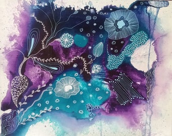 Acrylic Painting, Trippy Art, Purple and Blue Wall Decor, Intuitive Painting