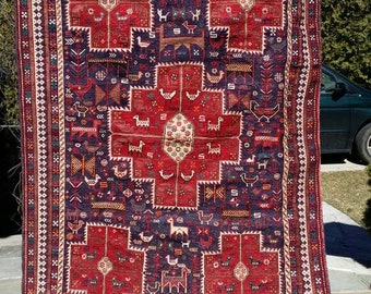 """60"""" by 86"""" Antique Shahsavan Soumak/ Kilim Delightful tribal floor covering or hanging with  all sorts of animals"""