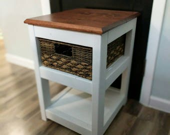 End table, side table. Rustic home furniture. Farmhouse, cottage nightstands. Night stand.