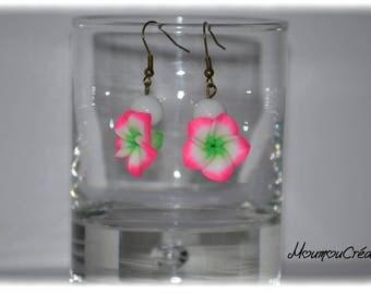 Earrings fimo tiare flower