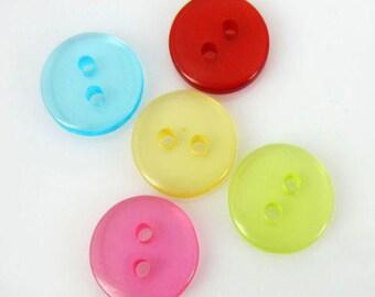 SET of 50 ASSORTMENT Mixed Transparent Resin Buttons /2 holes/DIY/sewing/knitting/embellishments/trim