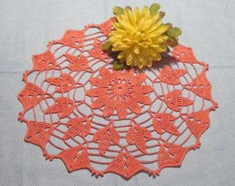 Doily, stunning in coral pink, unique!