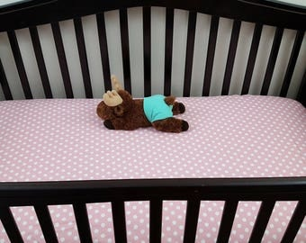 Pink and White Poka Dots custom/crib sheet/mini-crib sheet/bassinet sheet