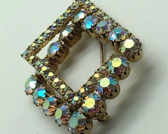 Vintage   Rhinestones Brooch Aurora Borealis Brooch Geometric Diamond Shape  Set in Gold  Tone Sparkly Wedding Bouquet Bridal Wear