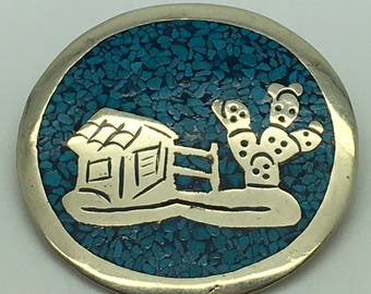 Mexican Alpaca Silver Crushed Turquoise Inlay Pendant Brooch Southwestern Convertible Cabin And Cactus Scene Round