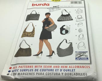 Burda 8305  Sewing Pattern Bags Hand Bags Shoulder Bag Shopper Tote Hobo Purse Wool Fabrics Linen Faux Leather  New Uncut FF