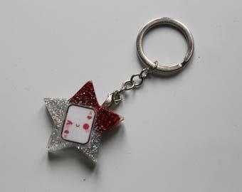 """Glittered Keychain Theme """"Alice in Wonderland"""""""