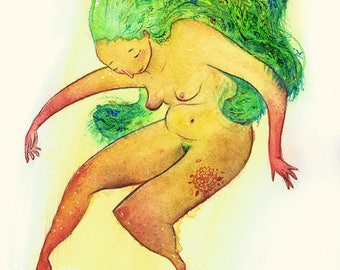 """""""Original drawing ' dancing in green"""""""