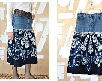 Upcycled skirt Tribal Long skirt A line Denim Boho Festival Hippie Grunge Patchwork skirt Wearable art Fairy clothing Hipster Folk Tie dye