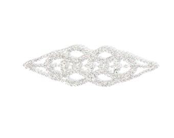 Rhinestone Gorgeous Bridal Applique Silver Crystal Diamante Motif Pearl Wedding 130mm x 42mm approx - B002