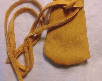 Native Style Handcrafted Top Grain Gold Deer Hide Pouch