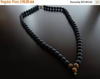 Sale 30%off Matte Onyx Necklace, 8mm tiger eye bead, Beaded Necklace, Necklace, Mens Necklace, Unisex Necklace, Men black beaded necklace