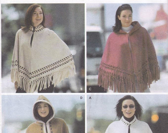 FREE US SHIP Simplicity 5330 Sewing Pattern Cape Poncho Hood Hoodie Fringed Fllece Uncut Factory Folded Size 10 12 14 16 18 20 Bust 32-42