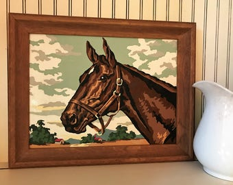 Lovely Horse Paint by Number - Horse in Bridle - White Star on Forehead - Horse Collectible - Paint by Number Collectible - Oak Frame - 1960