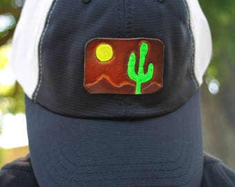 Trucker Ball Cap with Hand Tooled Leather Desert Cactus Patch, Southwestern, Western, Boho Hat