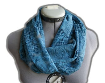 Blue Rose Infinity Scarf,Blue lace scarf, Blue infinity scarf