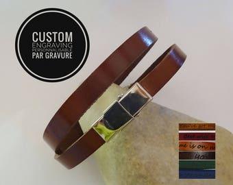 Silver leather double wrap bracelet choice of colour leather band - engraved bracelet- men women gift