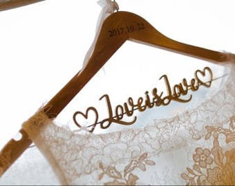 Wedding Hanger Personalized with Date, Bride Hanger, Bridal Hanger, Bridal Shower Gift, Bridesmaid Dress Hanger, Bridal Dress Hanger vet0004