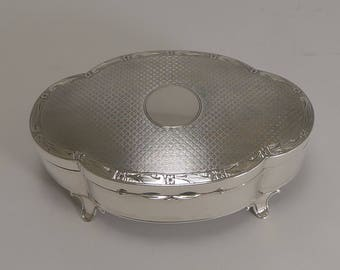 Large Antique English Sterling Silver Jewelry Box by Goldsmiths and Silversmiths Co.