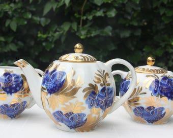 Vintage Lomonosov 'Golden Garden' Porcelain Teaset, Handpainted Mineral Cobalt Bird Decor, Embellished with 22 Kt Gold, Russia