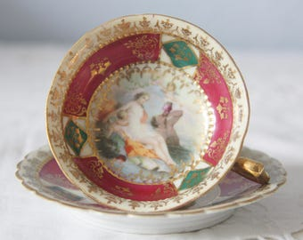 Beautiful Antique Royal Vienna Style Porcelain Demitasse Cup and Saucer, Francois Boucher Decor, Hand Painted, Beehive Shield Mark
