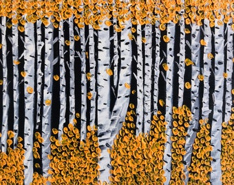 """Birch Trees Painted In Acrylic """"11X14"""" Wooden Board 