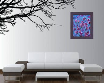 """Abstract Magnolia Painted In Acrylic """"11X14"""" Gallery Wrapped Canvas 