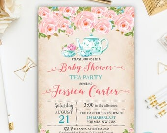 Tea Party Baby Shower Invitation, Floral Watercolor Baby Shower , Vintage  Flower Baby Shower Invitation