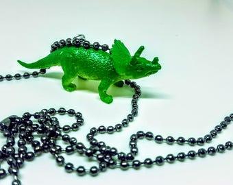 Dinosaur Necklace Gun Metal Ball Chain Green Dinosaur Ticeratops Necklace Gift Under 5