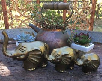 Brass Elephant Family-Elephant Figurines-Set of 3 Vintage Elephant- Mid-Century Hollywood Regency- Brass Elephant Familhy