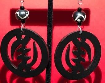 Black Gye Nyame Earrings