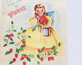 Vintage 40s 1940s Cute Girl with Strawberries USED Birthday Card, Scrap Booking Crafts