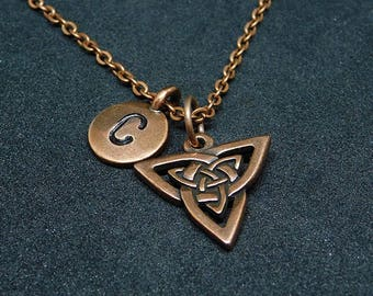 Copper Celtic Triniy Double knot necklace with Initial, celtic jewelry, personalized necklace
