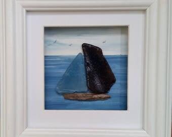 Sea Glass and Driftwood Yacht by Cornish Pebble Art
