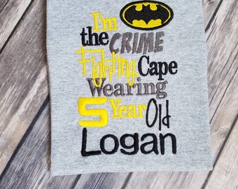 Batman birthday shirt. Can do for boy or girl. Select your shirt and thread colors!