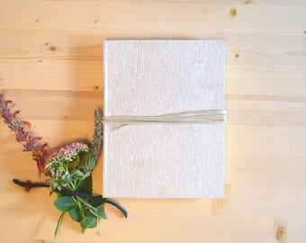 Journal Sketchbook White Wood Grain Natural with Beige Leather Tie