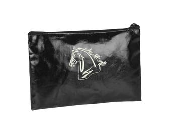 Black clutch with horse