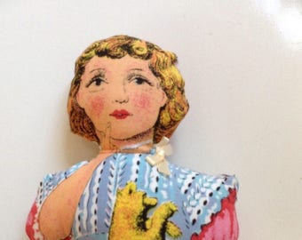 1950's printed fabric Rag Doll