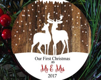 first christmas married ornament, First christmas as MR and Mrs  ornament,  couple newlywed ornament, wedding gift, couple deer ornament
