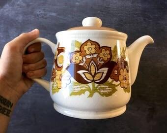 Vintage teapot Sadler teapot english teapot Sadler england china teapot retro teapot vintage tea party mid mod brown teapot vintage 70s