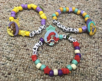 Set of three disney princess themed kandi bracelets